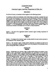 CONSTITUTION Of the American Legion Auxiliary, Department of Ohio, Inc