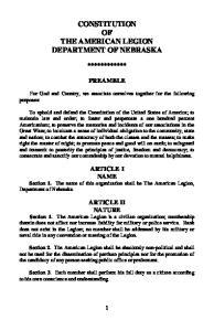 CONSTITUTION OF THE AMERICAN LEGION DEPARTMENT OF NEBRASKA