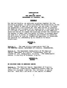 CONSTITUTION OF THE AMERICAN LEGION, DEPARTMENT OF VIRGINIA, INC. PREAMBLE