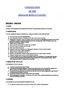 CONSTITUTION OF THE JINDALEE BOWLS CLUB INC
