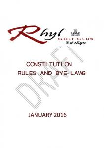 CONSTITUTION RULES AND BYE-LAWS