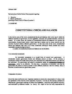 CONSTITUTIONAL CHECKS AND BALANCES