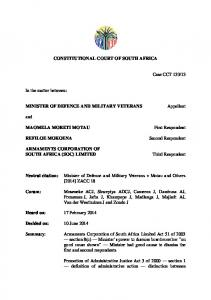 CONSTITUTIONAL COURT OF SOUTH AFRICA MINISTER OF DEFENCE AND MILITARY VETERANS