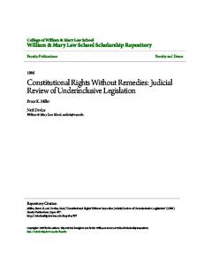 Constitutional Rights Without Remedies: Judicial Review of Underinclusive Legislation