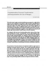 Constitutionalism, Economic Transformation and Europeanisation: the Case of Hungary