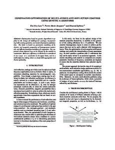 CONSTRAINED OPTIMIZATION OF MULTILAYERED ANTI-REFLECTION COATINGS USING GENETIC ALGORITHMS