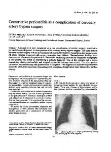 Constrictive pericarditis as a complication of coronary artery bypass surgery