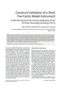 Construct Validation of a Short Five-Factor Model Instrument