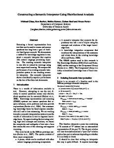 Constructing a Semantic Interpreter Using Distributional Analysis