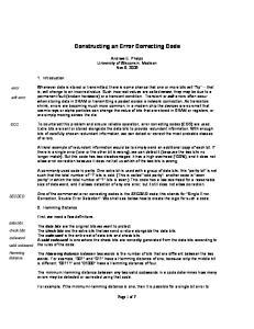 Constructing an Error Correcting Code