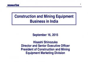 Construction and Mining Equipment Business in India