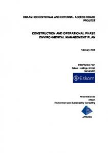 CONSTRUCTION AND OPERATIONAL PHASE ENVIRONMENTAL MANAGEMENT PLAN