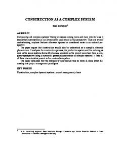 CONSTRUCTION AS A COMPLEX SYSTEM