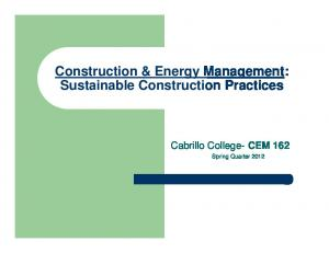 Construction & Energy Management: Sustainable Construction Practices