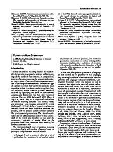 Construction Grammar. Introduction