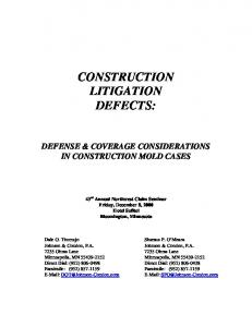 CONSTRUCTION LITIGATION DEFECTS: