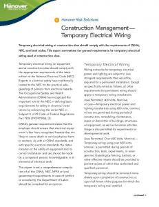 Construction Management Temporary Electrical Wiring