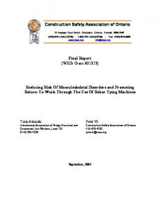Construction Safety Association of Ontario. Final Report (WSIB Grant #01023)