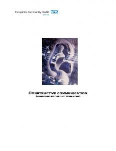 Constructive communication (Incorporating Conflict Resolution)