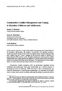 Constructive Conflict Management and Coping in Homeless Children and Adolescents