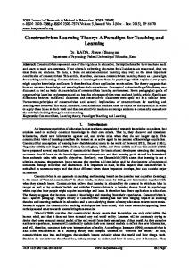 Constructivism Learning Theory: A Paradigm for Teaching and Learning