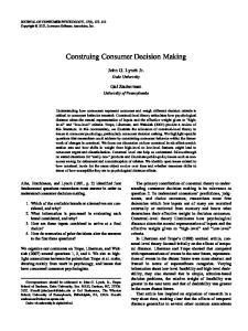 Construing Consumer Decision Making