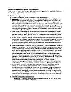 Consultant Agreement Terms and Conditions The Consultant Agreement