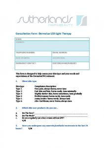 Consultation Form: Dermalux LED Light Therapy