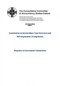 Consultation on Intermediary-Type Structures and Self-employment Arrangements