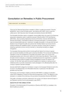 Consultation on Remedies in Public Procurement