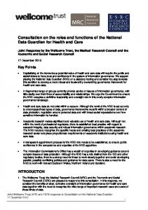 Consultation on the roles and functions of the National Data Guardian for Health and Care