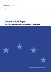Consultation Paper Draft RTS on package orders for which there is a liquid market