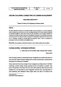 CONSULTING IN CAREER MANAGEMENT