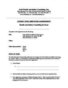 CONSULTING SERVICES AGREEMENT. Health and Safety Consulting Services: 4001 Inglewood Ave., Suite Redondo Beach, CA 90278