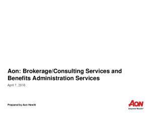 Consulting Services and Benefits Administration Services