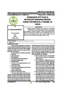 CONSUMER ATTITUDE & BEHAVIOR TOWARDS INSTANT NOODLES ESPECIALLY MAGGI IN INDIA