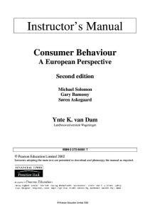 Consumer Behaviour: A European Perspective Instructor s Manual. Consumer Behaviour A European Perspective. Second edition