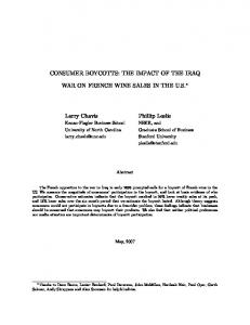 CONSUMER BOYCOTTS: THE IMPACT OF THE IRAQ WAR ON FRENCH WINE SALES IN THE U.S