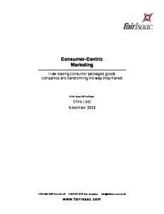 Consumer-Centric Marketing