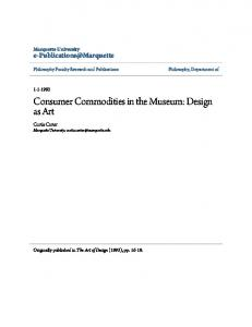 Consumer Commodities in the Museum: Design as Art