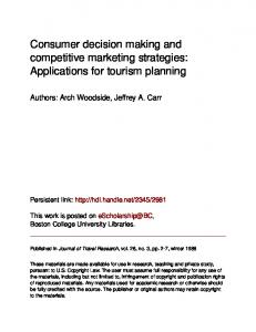 Consumer decision making and competitive marketing strategies: Applications for tourism planning