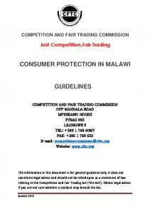 CONSUMER PROTECTION IN MALAWI GUIDELINES