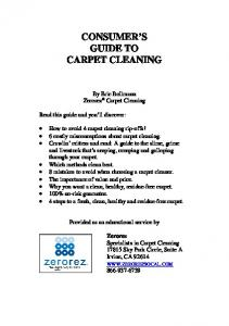 CONSUMER S GUIDE TO CARPET CLEANING