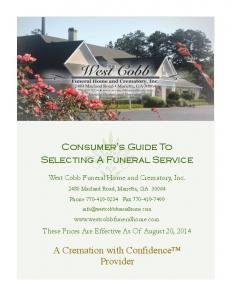 Consumer s Guide To Selecting A Funeral Service