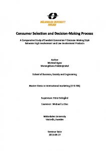 Consumer Selection and Decision-Making Process