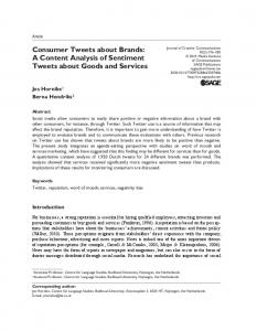 Consumer Tweets about Brands: A Content Analysis of Sentiment Tweets about Goods and Services