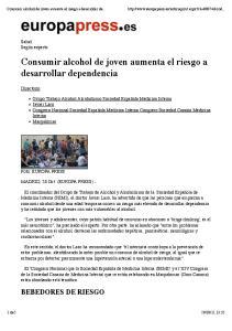 Consumir alcohol de joven aumenta el riesgo a