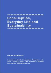 Consumption, Everyday Life and Sustainability