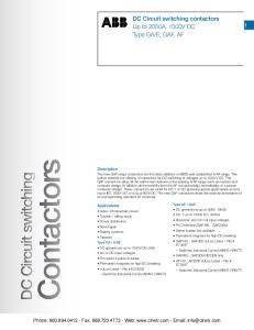 Contactors. Applications
