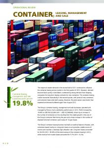 CONTAINER 19.8% LEASING, MANAGEMENT AND SALE OPERATIONAL REVIEW. Container leasing, management and sale businesses profit growth